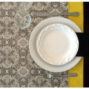 Areté - Toalha de mesa amarelo e preto
