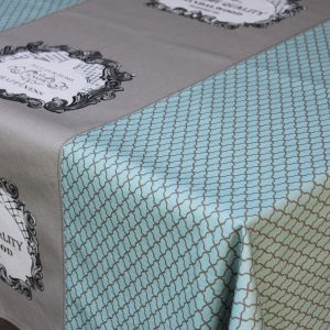 Areté - Toalha de mesa cinza e verde água